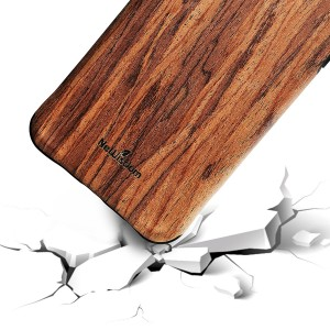 NeWisdom iPhone 8 Plus iPhone 7 Plus Case Wood Shockproof Unique Hybrid Rubberized Cover [Wood over Rubber] Soft Real Wood Case Cover for Apple iPhone 8Plus iPhone 7Plus – Sandalwood