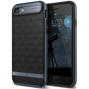 Caseology [Parallax Series] Case for iPhone 7 / iPhone 8 - Slim Design Dual Layer Protective Textured Geometric Cover Corner Cushion - (Black / Deep Blue)