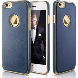 """iPhone 6s Plus Case,LOHASIC Premium Leather Protective [Ultra Slim] Anti-slip Texture Cover [Soft TPU and Plating Coated Bumper] Seamless Hybrid Case for iPhone 6s Plus and iPhone 6 Plus(5.5"""" ,Navy Blue)"""