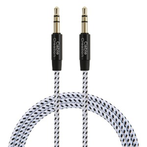 CableCreation 3.5mm Auxiliary Audio Cable 6 Feet Slim and Soft AUX Cable for Headphones, iPods, iPhones, iPads, Home / Car Stereos and More, 1.8M (Black and White)