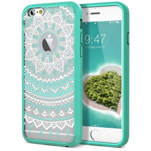 """iPhone 6 Plus Case, iPhone 6S Plus Case, SmartLegend Retro Totem Mandala Floral Pattern Hybrid Clear PC Hard Back with TPU Bumper Acrylic Protective Transparent Case for iPhone 6/6S Plus 5.5""""  - Mint"""