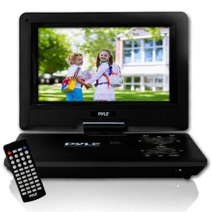 """Pyle 9""""  Portable DVD Player, Portable CD Player, Travel DVD Player, Car DVD Player, Portable Battery, USB/SD, Headphone Jack, Includes Wireless Remote Control, Car Charger, Travel Bag, Black (PDV91BK)"""