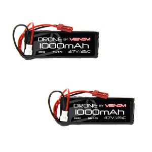 Venom 25C 1S 1000mAh 3.7V LiPo Battery with Micro Losi and JST Plugs x2 Pack Combo