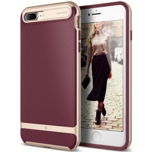Caseology [Wavelength Series] Case for iPhone 7 Plus / iPhone 8 Plus - Slim Design Protective Textured Grip Drop Protection Cover - (Burgundy)