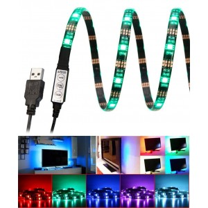 "E-More Bias Lighting for HDTV Multi Color RGB LED Strip USB TV Backlighting Home Theater Accent lighting 35.4""  Led Strip Light Indoor Home Decoration(Reduce eye fatigue and increase image clarity)"