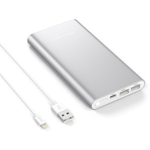 Apple Lightning Portable Power Bank, Poweradd Pilot 4GS 12000mAh External Battery Charger with 3A High-Speed Output for iPhone, iPad, iPod, Samsung Galaxy and More - Silver (Lightning Cable Included)