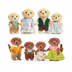 Calico Critters Yellow Lab Family and Chocolate Lab Family Play Sets