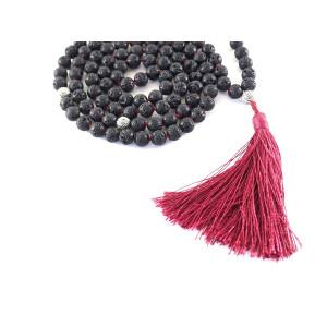 Buddhist 108 Black Stone Lava Rock Meditation Mala Prayer Japa Beads Necklace
