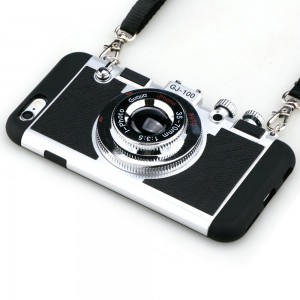 iPhone 5/5s Case,Guojia 3D Camera Design Case PC + Silicone Cover Case with Long Strap Rope (Moderate Hardness)