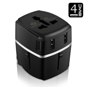 BONAZZA Universal International Travel Adapter Kit with 3.4A 4 USB Ports - UK, US, AU, Europe All in One Plug Adapter - Over 150 Countries and USB Power Adapter for iPhone, Android, All USB Devices