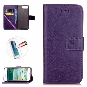 iPhone 7 Plus Case, [Card Slot][Kickstand] - ISADENSER Embossing PU Leather Flip Wallet Case for iPhone 7 Plus + 1pcs Tempered Glass Screen + 1pcs Stylus Pen (Clover Purple)
