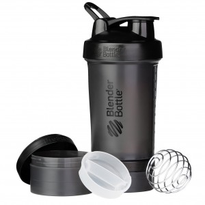 BlenderBottle ProStak System with 22-Ounce Bottle and Twist n' Lock Storage, All Black