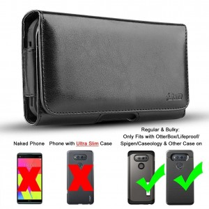 LG V20 Holster, JandD PU Leather Holster Pouch Case with Belt Clip, Leather ID Wallet Case for LG V20 (Only Fits with OtterBox/Lifeproof/Spigen/Other Thick Case on)