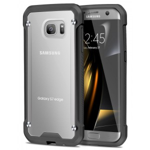 Galaxy S7 Edge Case, ELOVEN Impact Resistant Anti-Scratch Shockproof Crystal Clear Back Bumper Cover Slim Non-slip Grip Protective Case Shell for Samsung Galaxy S7 Edge (2016) - Black