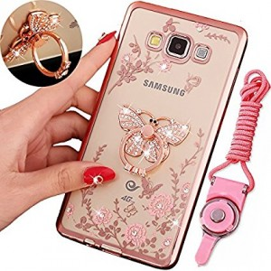 Galaxy On5 (2015 Version) Case , BestAlice Slim Soft Gel Clear Bling Case Rose Gold Metal Plating Bumper Cover and Lanyard Neck Strap , Butterfly Ring Stand