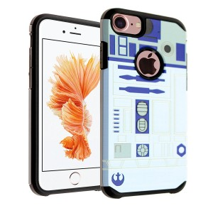 iPhone 7 Case, DURARMOR Star Wars R2D2 Astromech Droid Robot Case Hybrid Bumper ShockProof Slim Fit Armor Air Cushion Defender Drop Protection Cover for iPhone 7 4.7 inch, Starwars R2D2