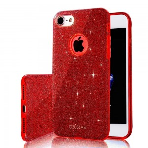 iPhone 8 / iPhone 7 Case, ZUSLAB [Rosy] Bling Luxury Glitter Cover, Dual layer Fashion Protective Soft Rubber Flexible Ultra Slim Case for Apple iPhone 8 / iPhone 7 (Red)