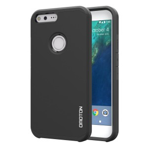 Google Pixel Case, OMOTON High Impact Resistant Fully Protective Dual Layer Case with [Soft TPU Interior] [Durable PC Exterior] [Fashion Design] for Google Pixel [5.0 Inch], Black