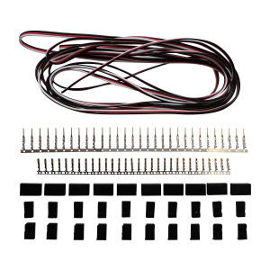 Futaba Style Servo Extension Kit W/ 10 Pairs Of Connector Plugs and 15' 22Awg Servo Wire - Apex RC Products #1225