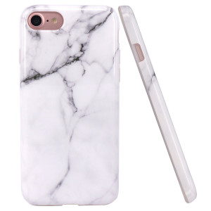 iPhone 7 Case, iPhone 8 Case, JAHOLAN White Marble Design Clear Bumper Glossy TPU Soft Rubber Silicone Cover Phone Case for Apple iPhone 7 (2016) / iPhone 8 (2017)