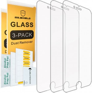 [3-PACK] - Mr Shield For iPhone 8 Plus / iPhone 7 Plus [Tempered Glass] Screen Protector [0.3mm Ultra Thin 9H Hardness 2.5D Round Edge] with Lifetime Replacement Warranty