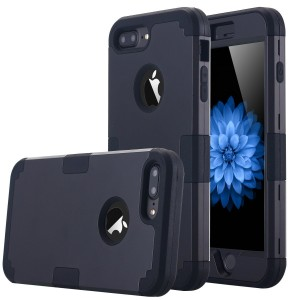 iPhone 7 Plus Case, LONTECT Hybrid Heavy Duty Shockproof Full-Body Protective Case with Dual Layer [Hard PC+ Soft Silicone] Impact Protection for Apple iPhone 7 Plus - Black
