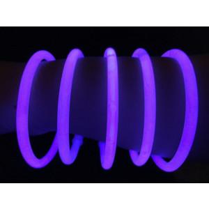 "Glow Sticks Bulk Wholesale Bracelets, 100 8"" Purple Glow Stick Glow Bracelets, Bright Color, Glow 8-12 Hrs, 100 Connectors Included, Glow Party Favors Supplies, Sturdy Packaging, GlowWithUs Brand"