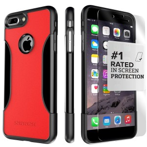 iPhone 8 Plus and 7 Plus Case, SaharaCase Protective Kit Bundled with [ZeroDamage Tempered Glass Screen Protector] Rugged Slim Fit Shockproof Bumper [Hard PC Back] Protection – Black Red