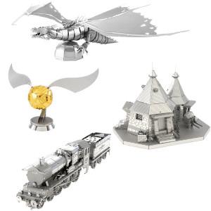 Fascinations Metal Earth 3D Metal Model Kits - Harry Potter Set of 4 - Hogwarts Express Train, Hagrid's Hut, Golden Snitch, Gringotts Dragon