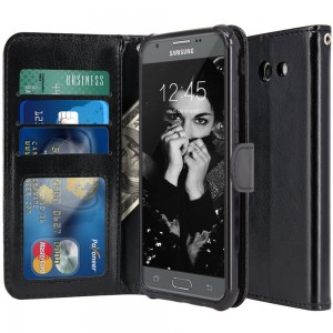 For Samsung Galaxy J7 V / J7 2017 / J7 Prime / J7 Perx / J7 Sky Pro / Galaxy Halo Case, LK Luxury PU Leather Wallet Flip Protective Case Cover with Card Slots and Stand (Black)