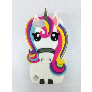 Cute 3D Cartoon Lovely Animal Design Soft Silicone Back Case Cover for Apple iPod Touch 5 5th Generation (Rainbow Unicorn)