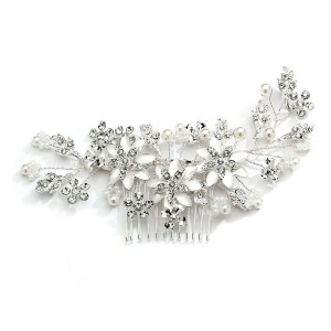 Mariell Crystal and Soft Ivory Pearl Wedding Bridal Hair Comb Headpiece with Hand-Painted Silver Leaves