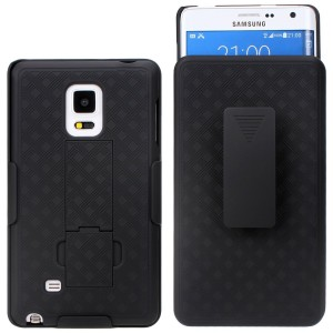 Galaxy Note 4 Case - Shell Holster Combo Case for Samsung Galaxy Note 4 with Kick-Stand and Belt Clip (Atandt, Verizon, T-Mobile and Sprint) - Black