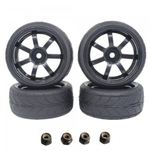 """4Pieces 1.02""""  RC On Road Tires 26mm With Wheel Rim Set 12mm Hex For 1/10 Remote Control Car Parts"""