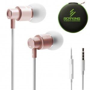 ROVKING Wired Metal Earbuds In Ear Headphones with Mic and Case Bass Stereo Noise Isolating Ear Buds Inear Earphones - Lightweight, Alluminum Alloy, iPhone Color, Inline Remote (Rose Gold)