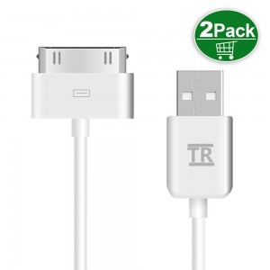 iPhone 4s Cable,iPad 2 Cable,TechRise 2-Pack APPLE MFI CERTIFIED Sync and Charging Cable (Length 1 Meter) for iPhone 4/4S, iPhone 3G/3GS, iPad 1/2/3, iPod - White