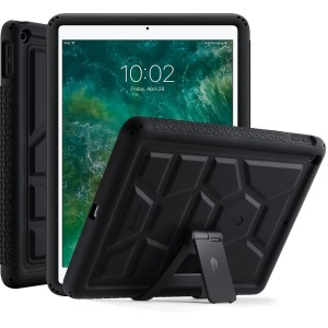 Poetic TurtleSkin iPad 9.7 Inch 2017 Cover Case With Heavy Duty Protection Silicone and Sound-Amplification feature with Portable Tablet Stand for Apple iPad 9.7 (2017 MARCH Released) Black