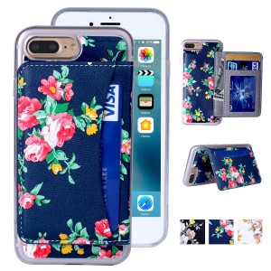 iPhone 7 Plus Case, iPhone 7 Plus Wallet Case, Premium PU Leather Flower Floral Back Folio Flip Wallet Cases Magnetic Holster Phone Case for iPhone 7 Plus (5.5'') with stand, Card Slots-Navy BlueandRed
