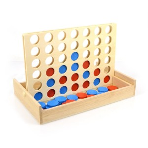 AMGlobal 4 in a Row. Four in a Row Wooden Game, Line Up 4, Classic Family Toy, Board Game For Kids and Family For Fun