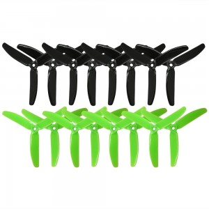 RAYCORP 5040 3-Blades 5x4x3 Propellers. 16 Pieces (8CW, 8CCW) Black and Green 5-inch Tri Blades Quadcopter and Multirotor Props + Battery Strap