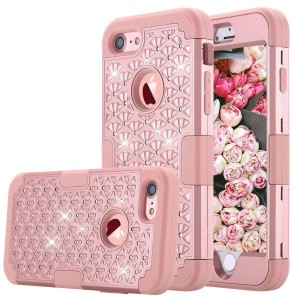iPhone 7 Case, GreenElec [Diamond Studded Bling Rhinestone] Hybrid Heavy Duty Dual Layer Armor Defender Protective Rubber Case With Fit Perfect Shock Absorbing Scratch Proof for iPhone 7 (Rose Gold)