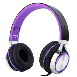 RockPapa I2052 Over Ear Foldable Headphones with Microphone, Noise Isolating, Adjustable Headsets for iPhone iPad iPod MP3/4 Laptop Black/Purple