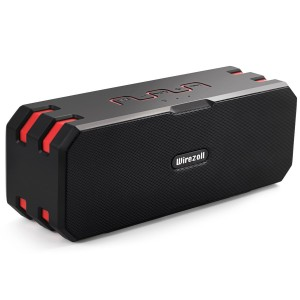 Bluetooth Speaker, Wirezoll IP67 Waterproof 20W Stereo Portable Wireless Speaker with Universal Bike Holder / Enhanced Bass / 15 Hours Playtime / TF Card Support / Built-in Microphone / Black and Red