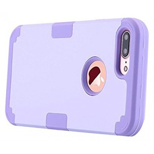 iPhone 7 Plus Case, LONTECT Hybrid Heavy Duty Shockproof Full-Body Protective Case with Dual Layer [Hard PC+ Soft Silicone] Impact Protection for Apple iPhone 7 Plus - Purple