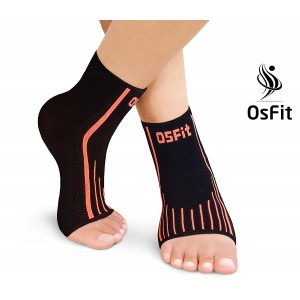Premium Foot Care Compression Sleeve Pair By Osfit-Best Ankle Brace For Arch and Ankle Support–Top Football, Basketball, Volleyball, Running Ankle Support Braces For Pain Relief and Enhanced Circulation