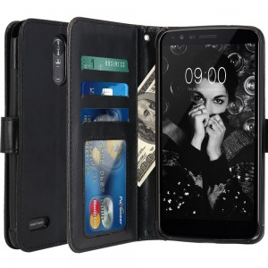LG Stylo 3 Case, LG Stylo 3 Plus Case, LK Luxury PU Leather Wallet Flip Protective Case Cover with Card Slots and Stand for LG Stylo 3 / LG Stylo 3 Plus (Black)
