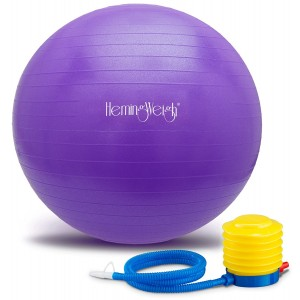 HemingWeigh Static Strength Exercise Stability Ball with Foot Pump   Perfect For Fitness Stability and Yoga   Helps Improve Agility, Core Strength, and Balance