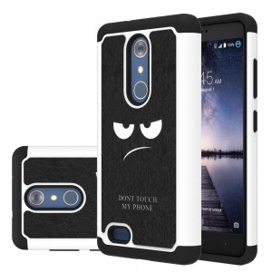 ZTE Zmax Pro Case, LEEGU [Shock Absorption] Dual Layer Heavy Duty Protective Silicone Plastic Cover Armor Case for ZTE Zmax Pro / Z981 - Don't Touch My Phone