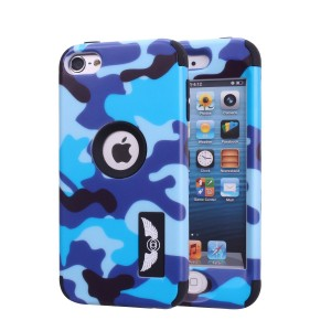 iPod Touch 6 Camo Case, Harsel Dual Layer Hybrid Protective Case and Impact Resistant Case Drop Protection Silicone Hard Cover for Apple iPod Touch 6th Generation - Military Blue