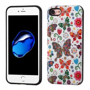 iPhone 7 Case, Resistance Shockproof Hybrid 3D Armor Cover with Tempered Glass. (Butterfly Wonderland/Black)